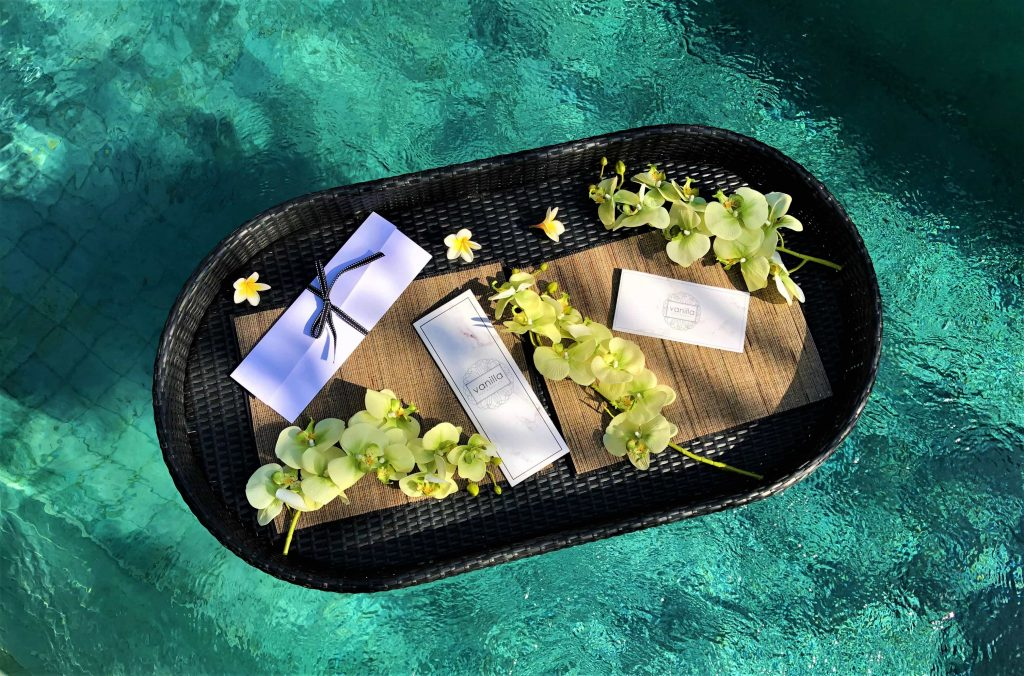 treatment menu floating on the water